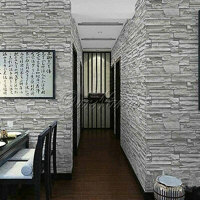 Art Grey Slate Brick Stone Natural Textured PVC Wallpaper Home Living Room Decor
