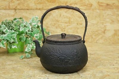 Japanese Seiko-do Antique old Iron Tea Kettle Tetsubin teapot Chagama #5966