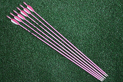"""6Pcs Pink Fiberglass Arrows 28"""" Girl Woman Type Archery Hunting for Recurve Bow"""