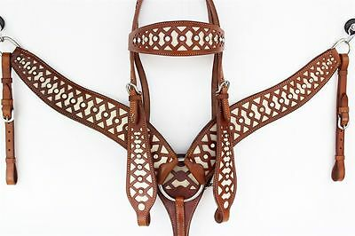 Geometric Cut Out Western Bridle And Breastplate Set Cob