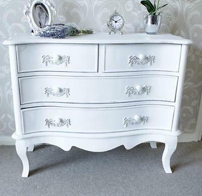 White 4 drawer chest bedroom furniture shabby french chic country home vintage
