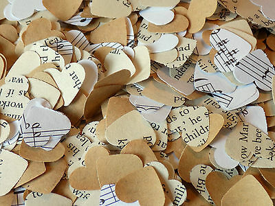 1000 Romantic Paper Heart kraft music book confetti Wedding Table Decoration