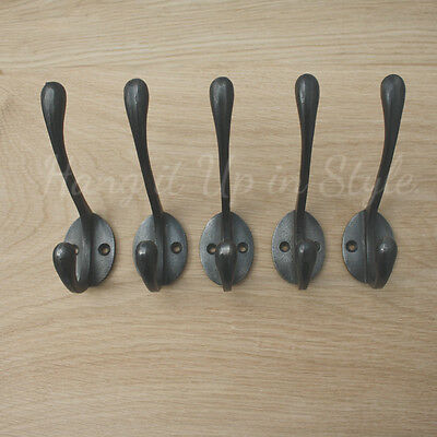 Set of 5 Reproduction 'Vintage Victorian Old School ' style cast iron coat hooks
