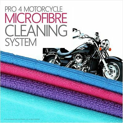 Pro 4 Motorbike Cleaning Microfibre Cloths Set With or Without Chemical Cleaner