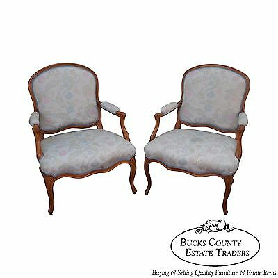 Antique 19th Century French Louis XV Style Pair of Fauteuils Arm Chairs