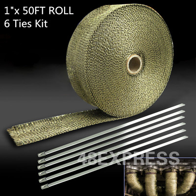 1''x 50ft Roll With Stainless Ties Kit Brand Titanium Exhaust/Header Heat Wrap