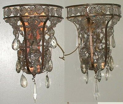 Pair Antique Bagues Style Crystal Glass Sconces Prisms Brass Wall Pocket Lamps