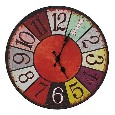 Large Wooden Shabby Chic Rustic French 38cm Wall Clock Multi-Coloured New