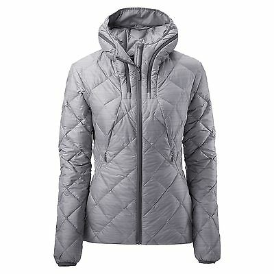Kathmandu Yatra Womens Hooded Goose Down Insulated Puffer Travel Jacket Grey
