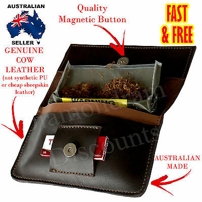 GENUINE COW LEATHER Tobacco Pouch AUSTRALIAN MADE Cigarette Bag Case Fathers Day