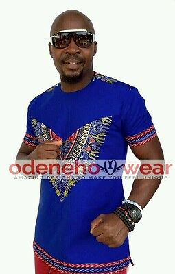 Odeneho Wear Men's Blue Polished Cotton Top With Dashiki. African Clothing