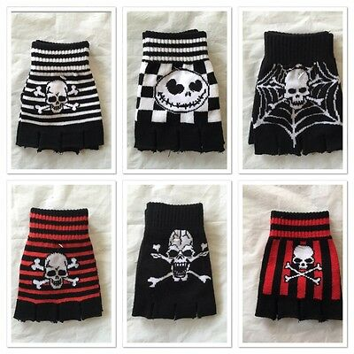 Men Women Winter Warmer Black Skull Stretch Knitted Gloves Fingerless Mittens