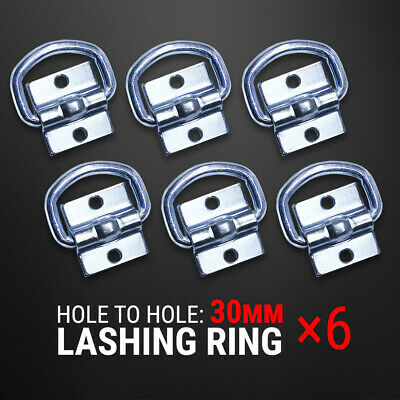 6 Pcs Lashing D Ring Zinc Plated Tie Down Anchor Trailer UTE 4WD