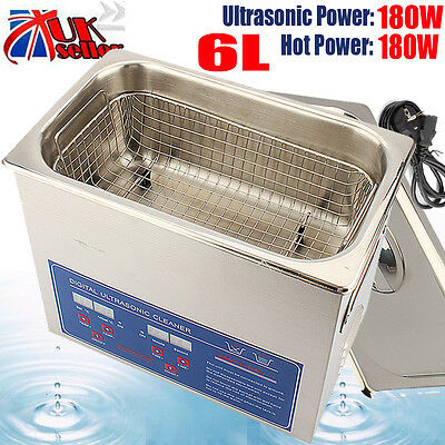 6L Strong Digital Stainless Cleaner Ultra Sonic Bath Cleaning Tank Timer Heate