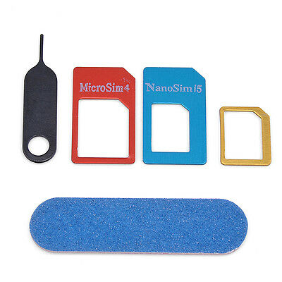5 IN 1  SIM Card to Micro Standard Adapter Adaptor Converter Set  New CH