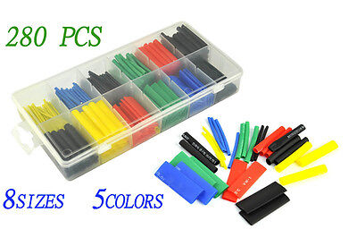 280pcs 2:1 Polyolefin Heat Shrink Tubing Tube Sleeving Wrap Wire Kit Cable
