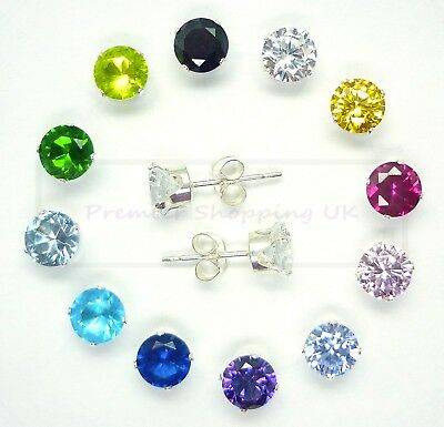 925 Sterling Silver Stud Earrings Crystal Cz Cubic Zircon Square Round Uk Selr
