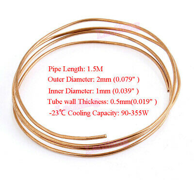 New 1.5M Length 2mm Dia Copper Tone Refrigeration Capillary Pipe Tubing Coil