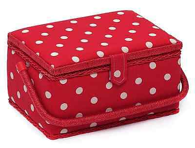 Hobby Gift MRM/22 White Spot Print on Red Medium Sewing Basket 18½ x 26 x 15cm