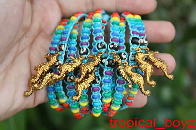 10 Brass Sea Horse Rainbow Bone Beads BLUE Slip-Knotted Bracelets Wholesale
