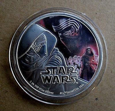 2016 NEW ZEALAND 1oz 999 FINE SILVER PLATE STAR WARS THE FORCE AWAKENS KYLO REN