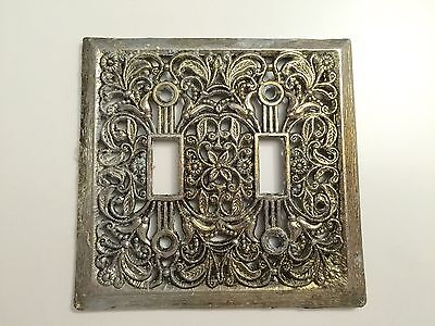 Vintage Ornate Metal Double Switch Cover Plate
