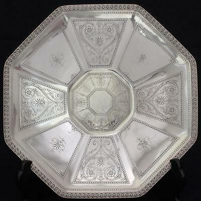 Antique TIFFANY&Co.Sterling Silver Ornate Footed Octagonal Sandwich Tray Platter