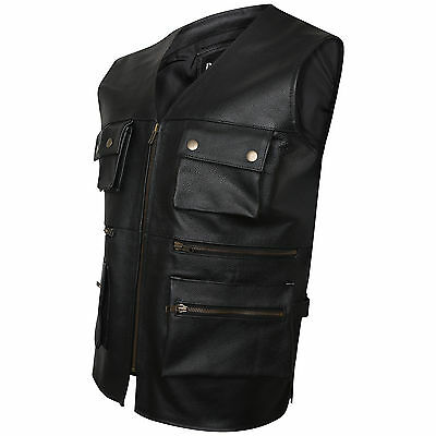 New Mens Biker Motorcycle Multipocket Fishing Jungle Real Leather Waistcoat/Vest