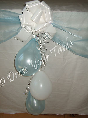Baby Boys Christening Day Party CAKE TABLE Decoration Pack - Balloons, Bows