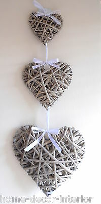 Set Of 3 Hanging Natural Wicker Hearts Shabby Chic Willow Vintage Bedroom Home