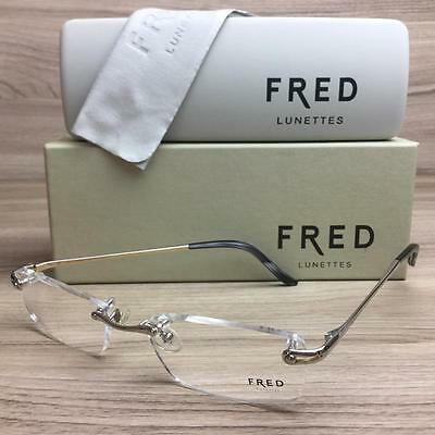 New Fred Lunettes Corail F1 Eyeglasses Frames Gold Black 001 Authentic 52mm