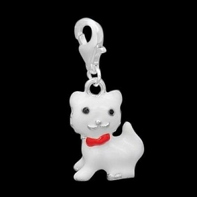 Silver White Cat Clip On Charm Bead Will Fit Thomas Sabo Style Bracelets. Shippi