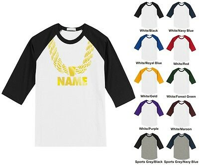 Gold Chain Custom Personalized Name Hip Hop Funny Adult Raglan Baseball T-Shirt