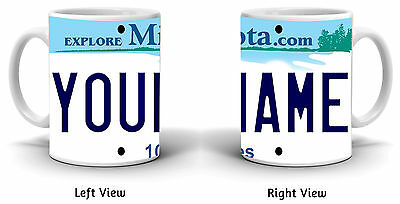 Personalized Custom Name Minnesota License Plate 11oz Ceramic Coffee Mug