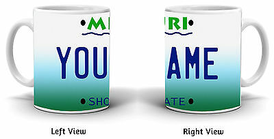 Personalized Custom Name Missouri License Plate 11oz Ceramic Coffee Mug