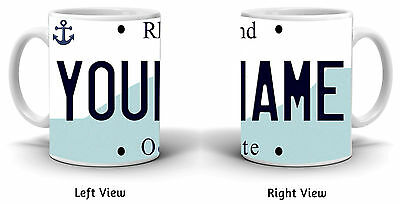 Personalized Custom Name Rhode Island License Plate 11oz Ceramic Coffee Mug