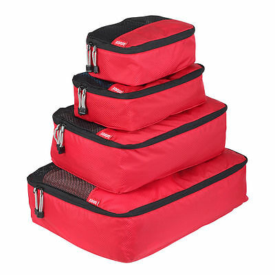 Zoomlite Packing Cubes 4 pc Set (Red) - Travel Luggage Organiser