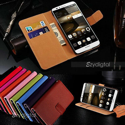 Genuine Real Leather Wallet Case Cover for HUAWEI GR5 & GR5 2017 + Screen Guard