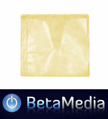 500 x Yellow CD / DVD Double Sided Plastic Sleeves - Holds 1000 discs