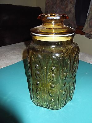 Vintage kitchen canister, amber glass canister jar w/ airtight seal