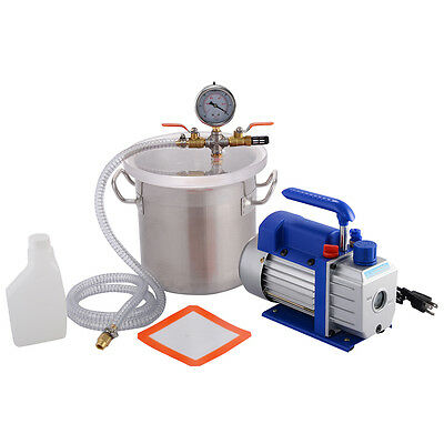 New 2 Gallon Vacuum Chamber and 3 CFM Single Stage Pump Degassing Silicone Kit