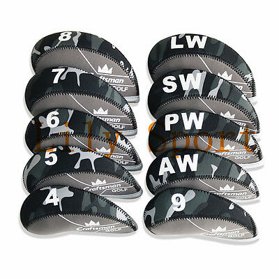 Craftsman CAMO Neoprene Golf Iron Cover Headcovers For Titleist Taylormade 11pcs