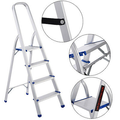 4 Step Aluminum Foldable Non-slip Ladder 300lbs Lightweight Home Office Portable