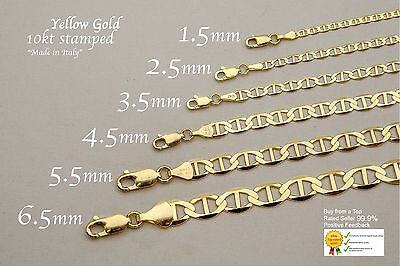 "Gold Authentic 10K Solid Gold Men's Women Mariner Link Chain Necklace Sz 16""-36"""