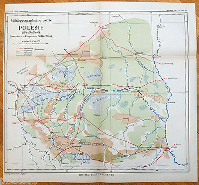 1911 Imperial Russia Poland Rowno Brest-Litowsk POLESIA Military Antique Map