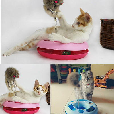 Pet Cat Toy Moving Spring Mouse Play Ball Funny Turntable Circle Activity Disk