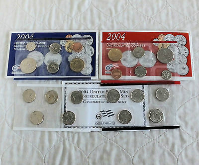 USA 2004 22 COIN UNCIRCULATED MINT YEAR SETS - 4 sealed packs - complete