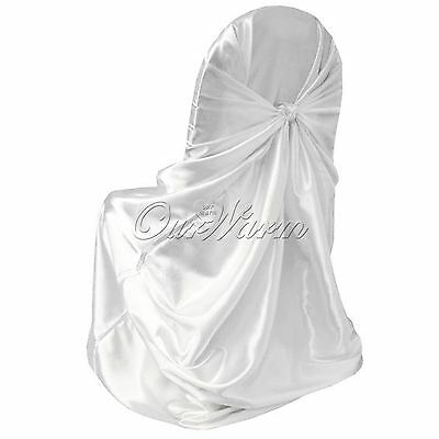 White Universal Tie Back Satin Chair Covers Wedding Party Event Function Decor