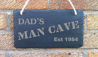 Personalised Man Cave Slate Plaque Sign Gift for Him