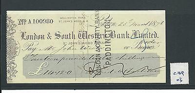 wbc. - CHEQUE FORM - USED -1870's -CHQ03-  LONDON & S WESTERN BANK - St JOHNS WD